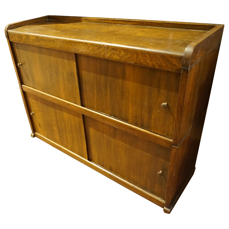 Arts & Crafts Solid Oak Barrister's Stacking Desk Shelf Cabinet