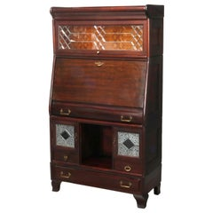 Arts & Crafts Stacking Barrister Bookcase and Desk with Leaded Glass, circa 1910