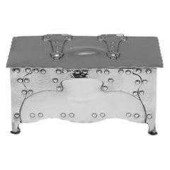 Arts & Crafts Sterling Silver Box, Designed by E. Creswick, 1901 London