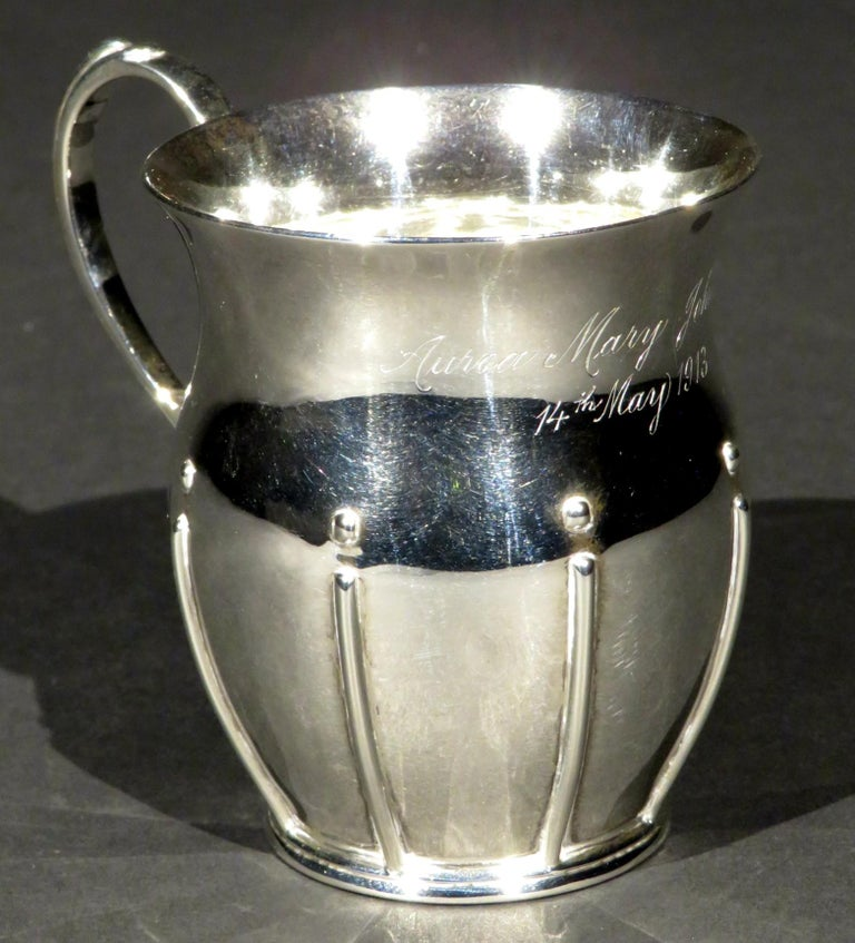 English Arts & Crafts Sterling Silver Christening Mug, Hallmarked London 1912  For Sale