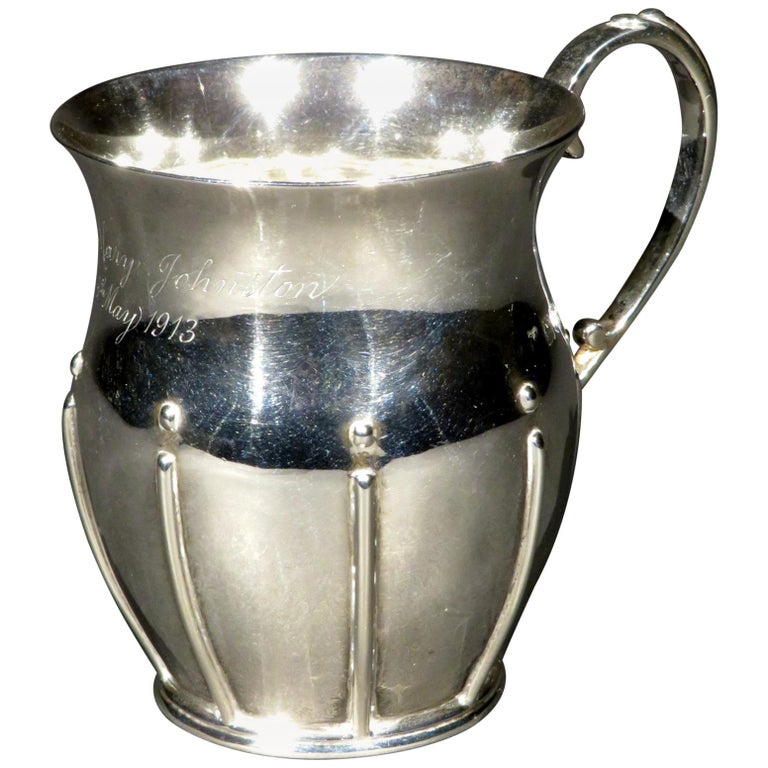 Arts & Crafts Sterling Silver Christening Mug, Hallmarked London 1912  For Sale