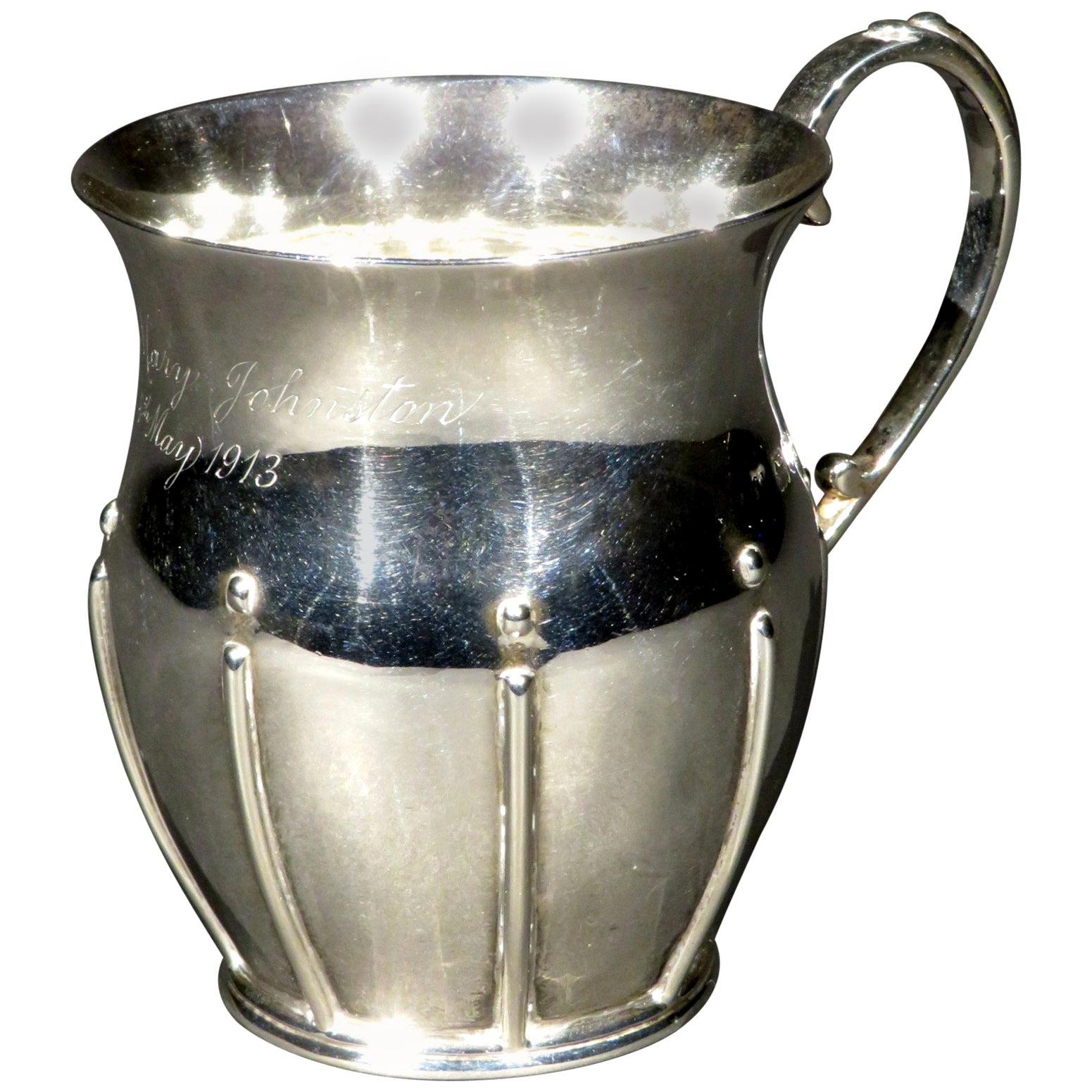 Arts & Crafts Sterling Silver Christening Mug, Hallmarked London 1912