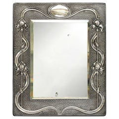 Arts & Crafts Sterling Silver-Mounted Table Mirror, by A. & J. Zimmerman