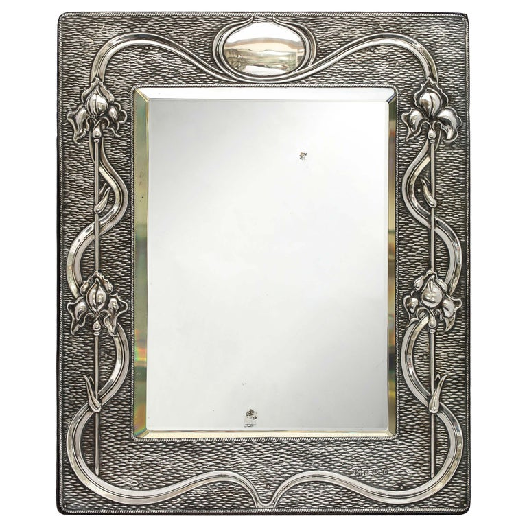 Arts & Crafts Sterling Silver-Mounted Table Mirror, by A. & J. Zimmerman For Sale