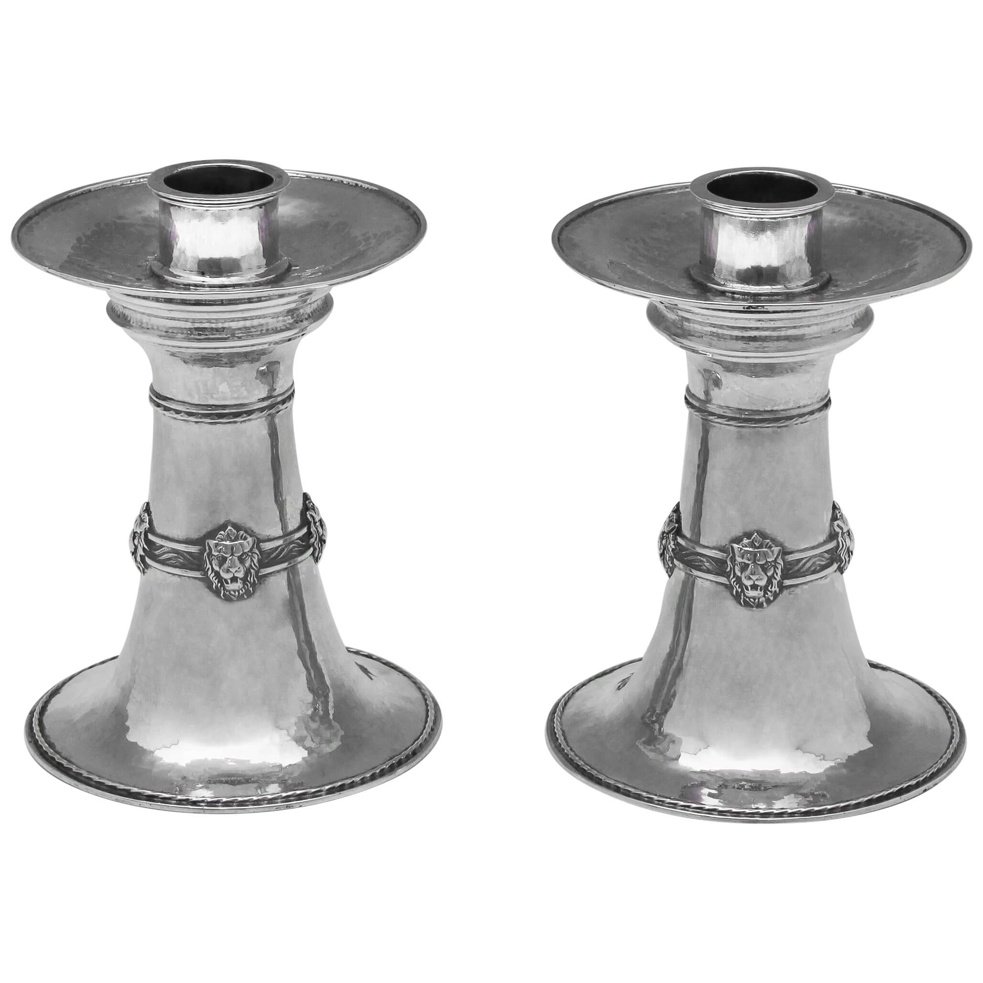 Arts & Crafts Sterling Silver Pair of Candlesticks by Omar Ramsden