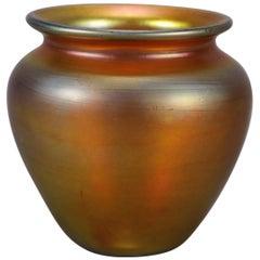 Arts & Crafts Steuben Gold Aurene Blown Art Glass Cabinet Vase, Signed
