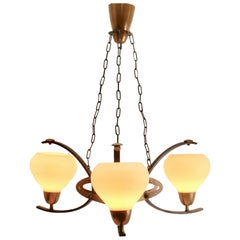 Arts & Crafts Style 3-Arm Chandelier, Handmade in Copper and Iron