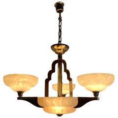 Art Deco Style White Alabaster & Gold Color Coated Bronze & Brass Pendant Light