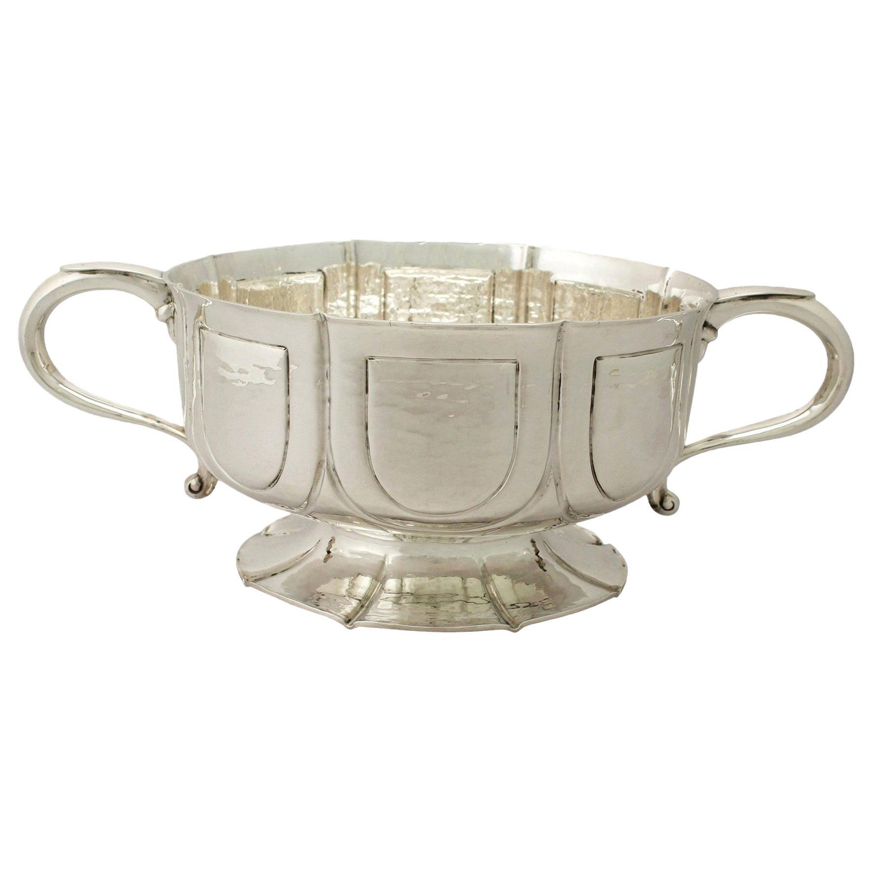 Arts & Crafts Style Antique Edwardian Sterling Silver Presentation Bowl, 1906