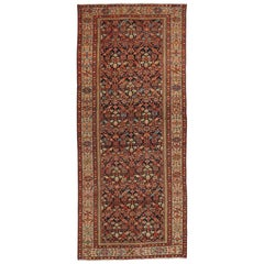 Arts & Crafts Style Antique Persian Malayer Wide Hallway Runner, Gallery Rug