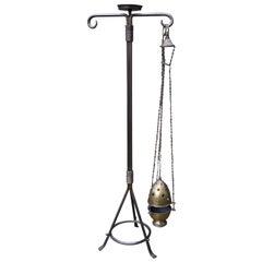 Arts & Crafts Style Bronzed Brass Church Floor Stand & Original Incense Burner