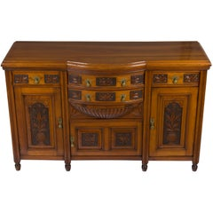 Arts & Crafts Style Carved Walnut Sideboard Buffet Cabinet Cupboard