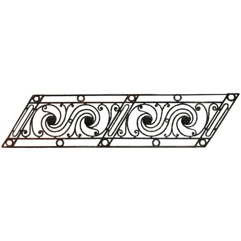 Arts & Crafts Style Decorative Cast Iron Angular Fence or Staircase Bannister For Sale
