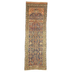 Arts & Crafts Style Distressed Antique Persian Malayer Runner