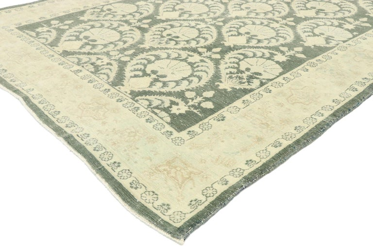 53033, distressed vintage Romanian Rug inspired by William Morris with Arts & Crafts style. Reminisce of 19th century French designs and decorative elegance, this hand knotted wool distressed vintage Romanian gallery rug beautifully embodies Arts &