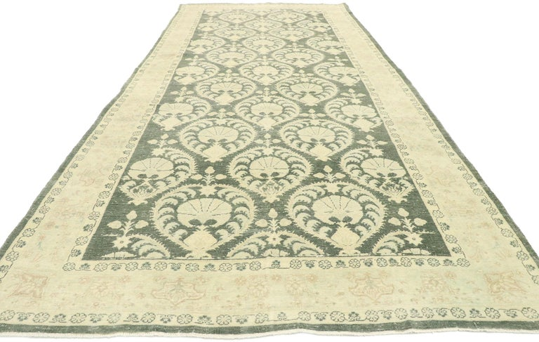 Arts and Crafts Arts & Crafts Style Distressed Vintage Romanian Rug Inspired by William Morris For Sale