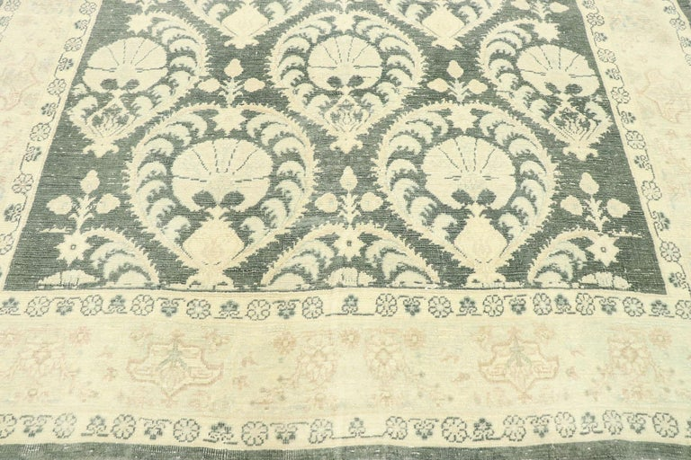 Hand-Knotted Arts & Crafts Style Distressed Vintage Romanian Rug Inspired by William Morris For Sale
