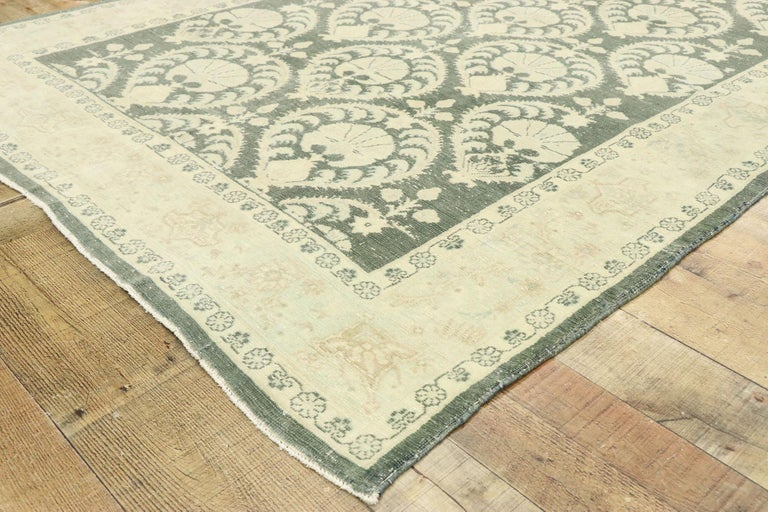 20th Century Arts & Crafts Style Distressed Vintage Romanian Rug Inspired by William Morris For Sale