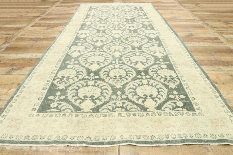 Wool Arts & Crafts Style Distressed Vintage Romanian Rug Inspired by William Morris For Sale