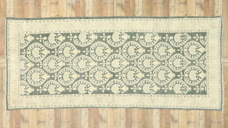Arts & Crafts Style Distressed Vintage Romanian Rug Inspired by William Morris For Sale 1
