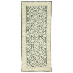 Arts & Crafts Style Distressed Vintage Romanian Rug Inspired by William Morris