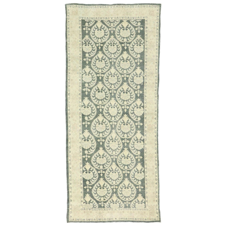 Arts & Crafts Style Distressed Vintage Romanian Rug Inspired by William Morris For Sale