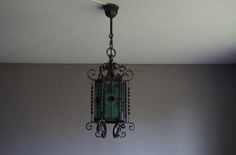 Arts & Crafts Style, Hand Forged Wrought Iron & Cathedral Glass Pendant Light For Sale 5