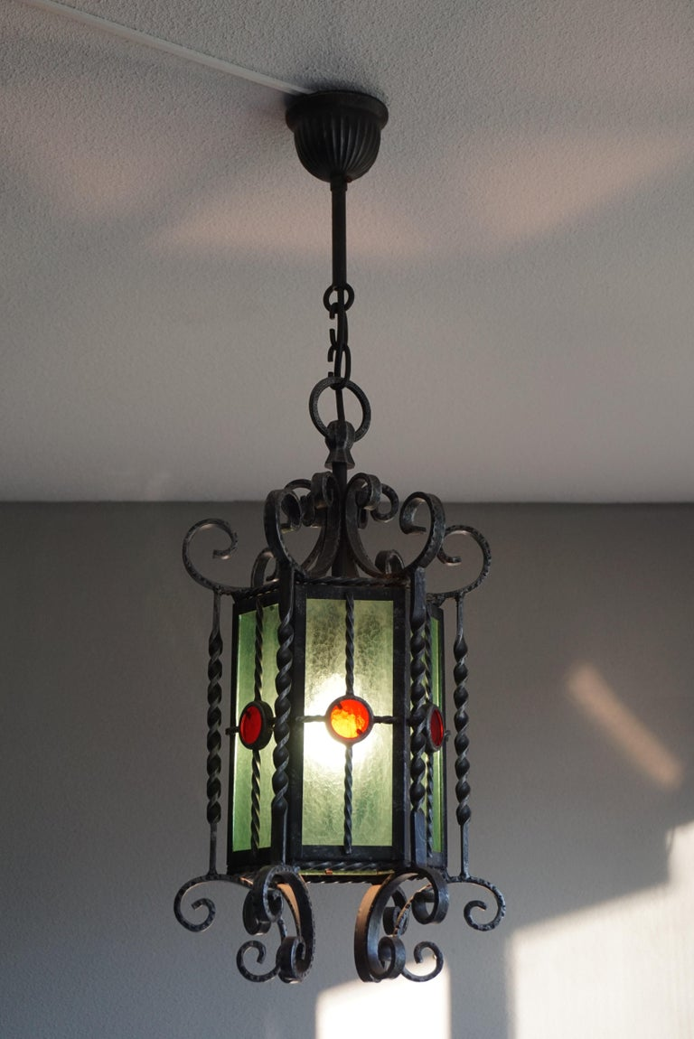 Arts & Crafts Style, Hand Forged Wrought Iron & Cathedral Glass Pendant Light For Sale 6