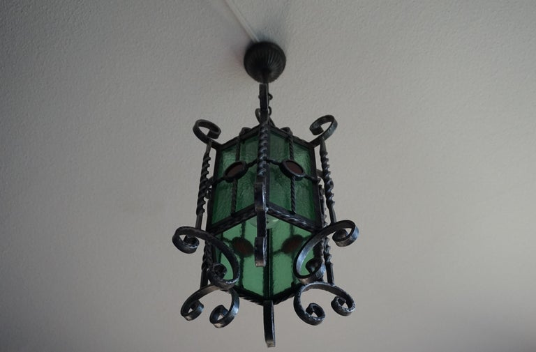 Arts & Crafts Style, Hand Forged Wrought Iron & Cathedral Glass Pendant Light For Sale 7