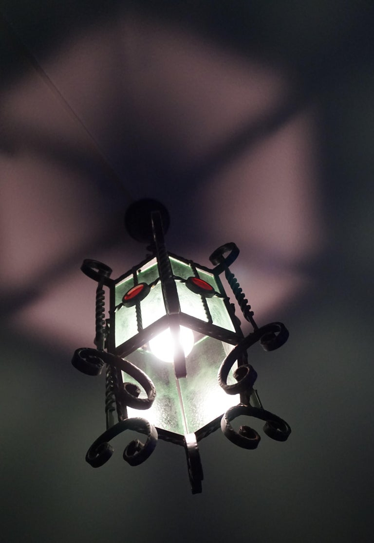 Arts & Crafts Style, Hand Forged Wrought Iron & Cathedral Glass Pendant Light For Sale 8