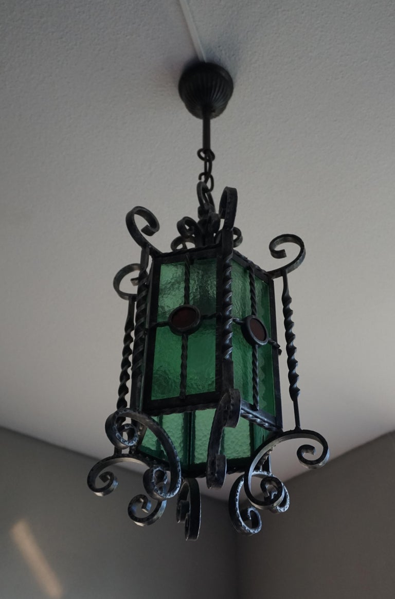 Arts & Crafts Style, Hand Forged Wrought Iron & Cathedral Glass Pendant Light For Sale 9