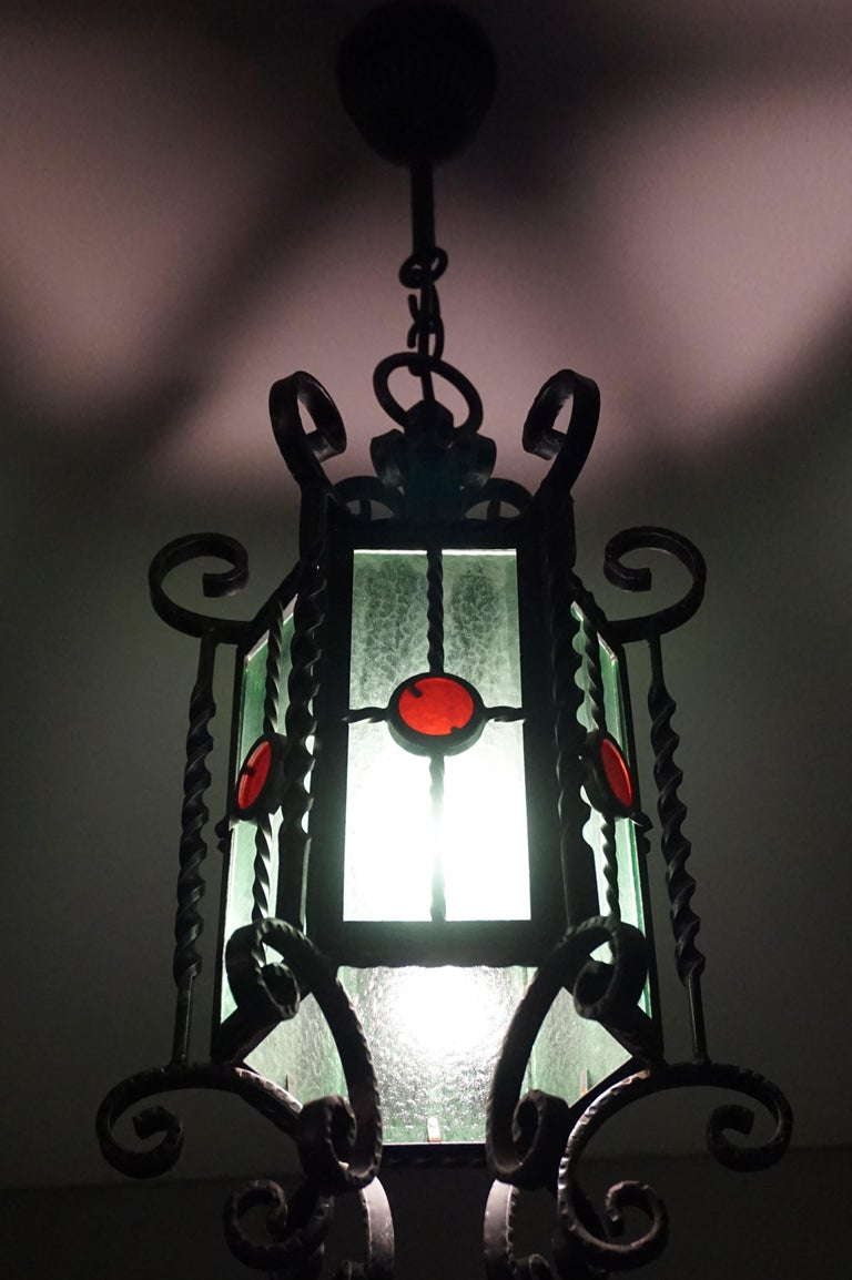Arts & Crafts Style, Hand Forged Wrought Iron & Cathedral Glass Pendant Light For Sale 10