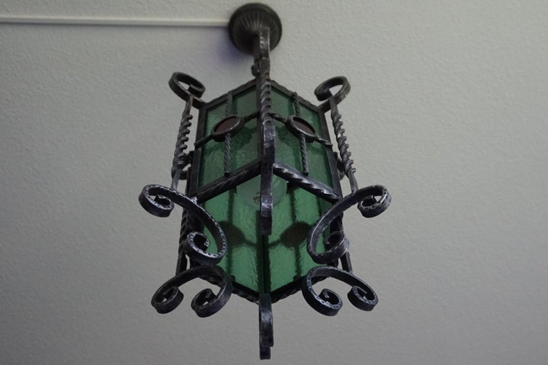 Arts & Crafts Style, Hand Forged Wrought Iron & Cathedral Glass Pendant Light For Sale 12