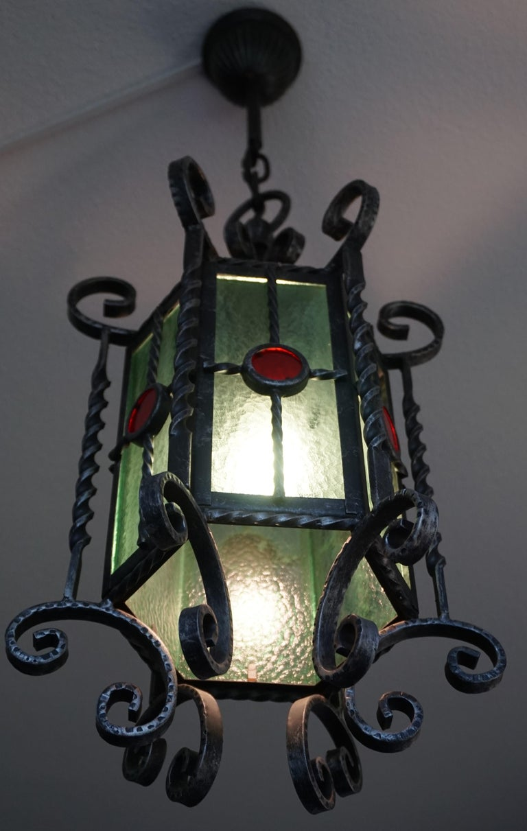 Dutch Arts & Crafts Style, Hand Forged Wrought Iron & Cathedral Glass Pendant Light For Sale