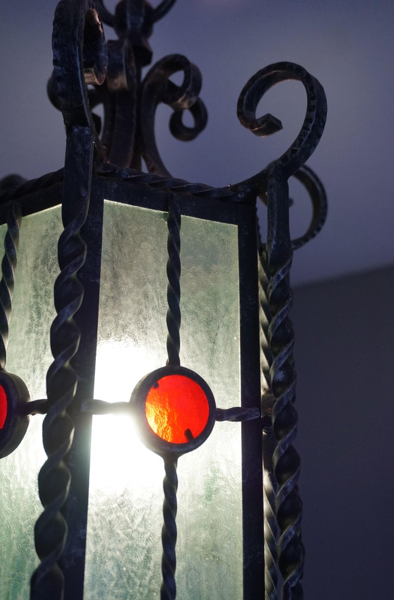 Arts & Crafts Style, Hand Forged Wrought Iron & Cathedral Glass Pendant Light For Sale 1