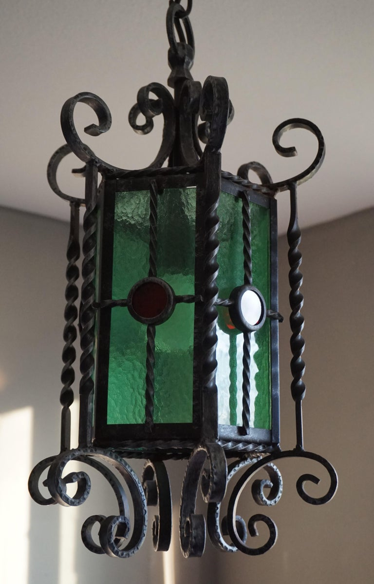 Arts & Crafts Style, Hand Forged Wrought Iron & Cathedral Glass Pendant Light For Sale 2