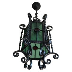 Arts & Crafts Style, Hand Forged Wrought Iron & Cathedral Glass Pendant Light