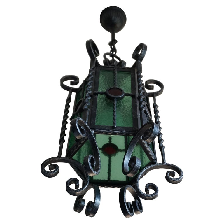 Arts & Crafts Style, Hand Forged Wrought Iron & Cathedral Glass Pendant Light For Sale