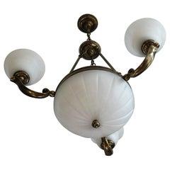 Arts & Crafts Style Midcentury Made White Alabaster & Bronze & Brass Pendant