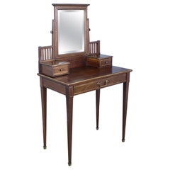 Arts & Crafts Style Oak Dressing Table with Brass Accents