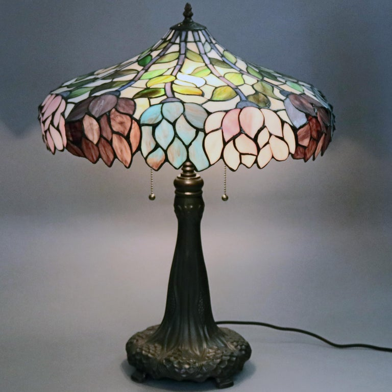 Arts & Crafts Style Tiffany School Leaded Glass Mosaic Table Lamp, 20th Century For Sale 6