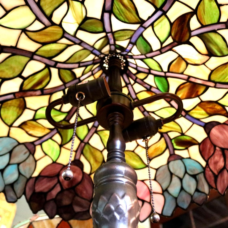 Art Nouveau Arts & Crafts Style Tiffany School Leaded Glass Mosaic Table Lamp, 20th Century For Sale