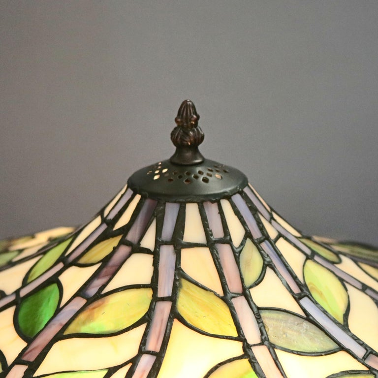 American Arts & Crafts Style Tiffany School Leaded Glass Mosaic Table Lamp, 20th Century For Sale