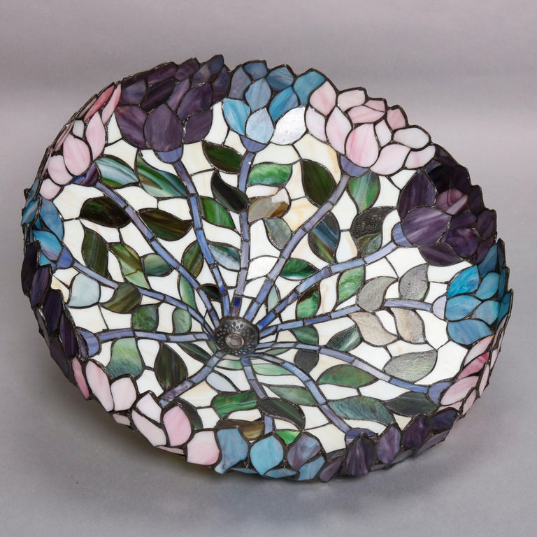 Arts & Crafts Style Tiffany School Leaded Glass Mosaic Table Lamp, 20th Century For Sale 3