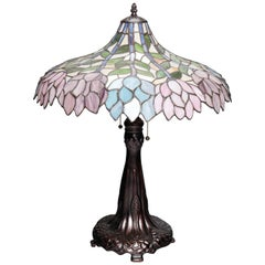 Arts & Crafts Style Tiffany School Leaded Glass Mosaic Table Lamp, 20th Century