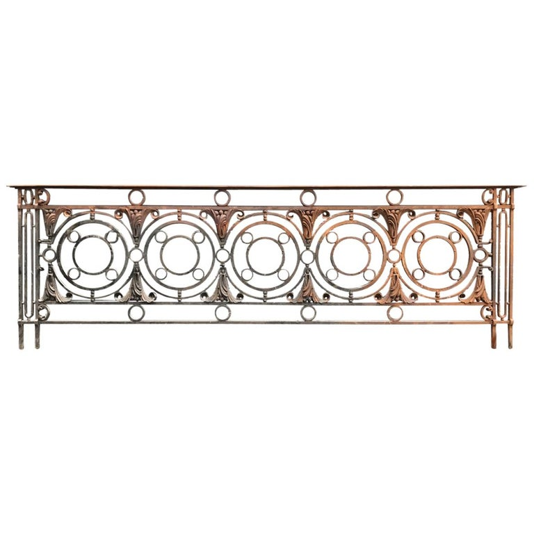 Arts & Crafts Style Victorian Decorative Cast Iron Railing or Balcony Banister For Sale