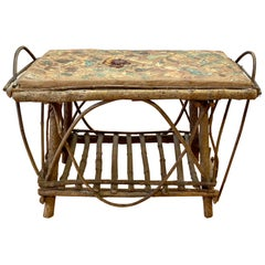Arts & Crafts Style Willow Branch and Glazed Ceramic Tile Mosaic Side Table