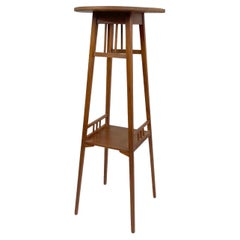Arts & Crafts Tall Wooden Plant Stand, 1930s