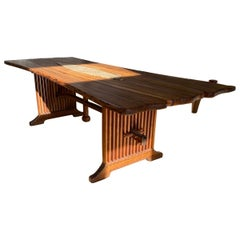 Arts & Crafts Traditional Dining Table with Stone Trivet