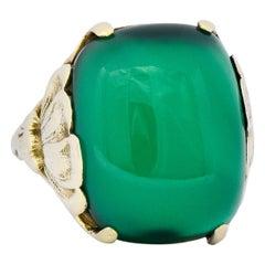 Arts & Crafts Vintage Chrysoprase 14 Karat Gold Lotus Ring